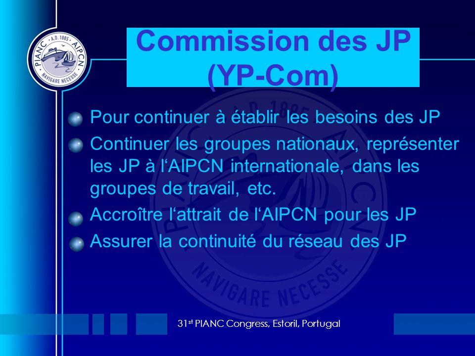 31 st PIANC Congress, Estoril, Portugal Pour continuer à établir les besoins des JP Continuer les groupes nationaux, représenter les JP à lAIPCN internationale, dans les groupes de travail, etc.