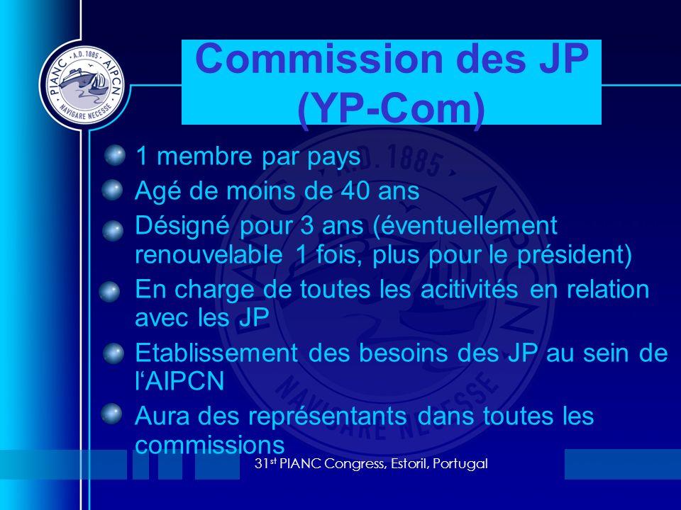 31 st PIANC Congress, Estoril, Portugal 1 membre par pays Agé de moins de 40 ans Désigné pour 3 ans (éventuellement renouvelable 1 fois, plus pour le président) En charge de toutes les acitivités en relation avec les JP Etablissement des besoins des JP au sein de lAIPCN Aura des représentants dans toutes les commissions Commission des JP (YP-Com)