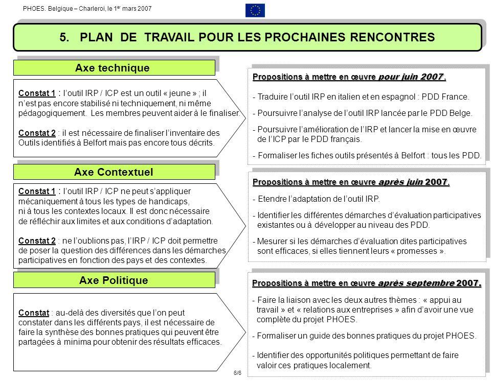 PHOES. Belgique – Charleroi, le 1 er mars 2007 5. PLAN DE TRAVAIL POUR LES PROCHAINES RENCONTRES Constat 1 : loutil IRP / ICP est un outil « jeune » ;