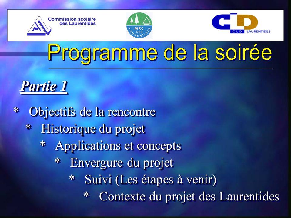 * Objectifs de la rencontre * Historique du projet * Applications et concepts * Suivi (Les étapes à venir) * Contexte du projet des Laurentides Partie 1 * Envergure du projet