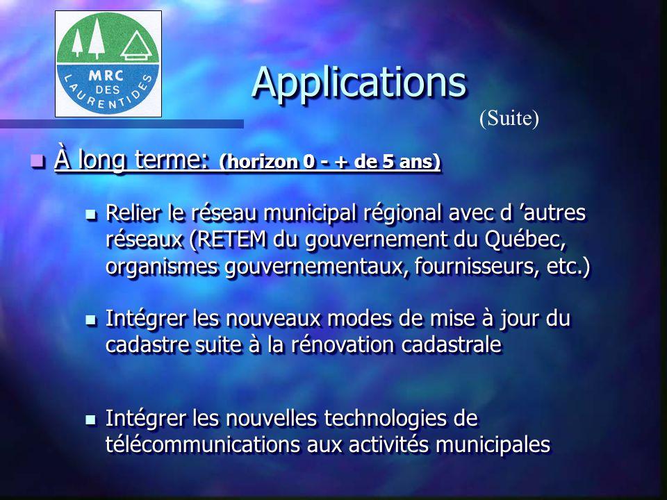 ApplicationsApplications (Suite) À moyen terme: (horizon 0 - 5 ans) À moyen terme: (horizon 0 - 5 ans) services existants en matière d aménagement du