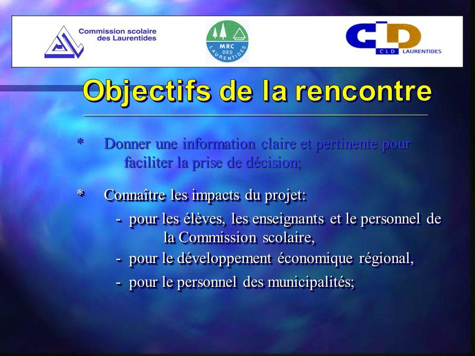 * Connaître les impacts du projet: - pour les élèves, les enseignants et le personnel de la Commission scolaire, - pour le développement économique régional, - pour le personnel des municipalités;