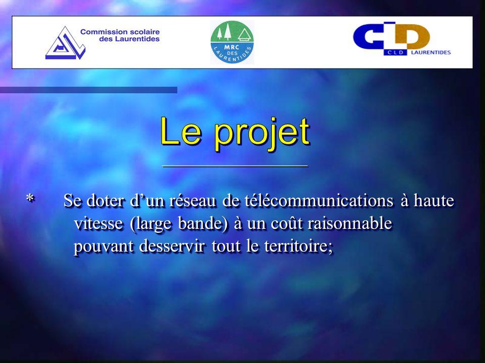 (Suite) * Été 2000- La direction de lautoroute de linformation considère le projet des Laurentides comme « projet modèle » - Implication du ministère des Régions * Automne 2000La MRC fait réaliser une étude préliminaire pour compléter celle de la CSL