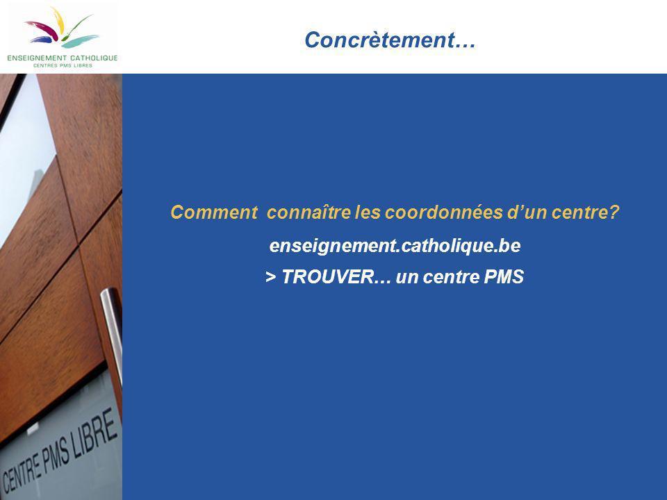 Concrètement… Comment connaître les coordonnées dun centre? enseignement.catholique.be > TROUVER… un centre PMS