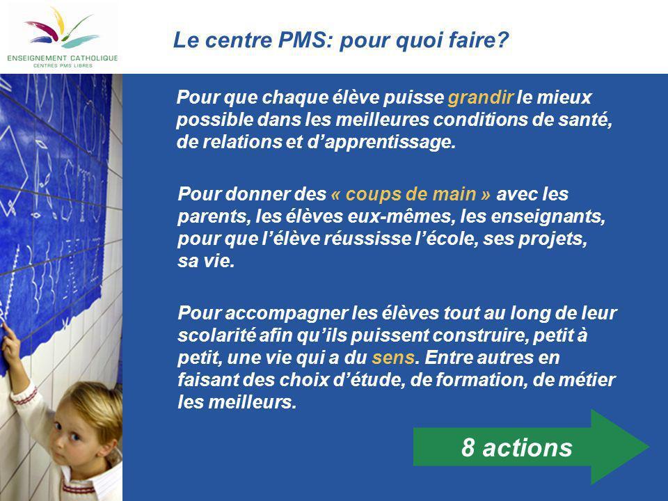 Action 1: proposer ses services Une information est donnée aux élèves sur: Quest-ce que le centre PMS.