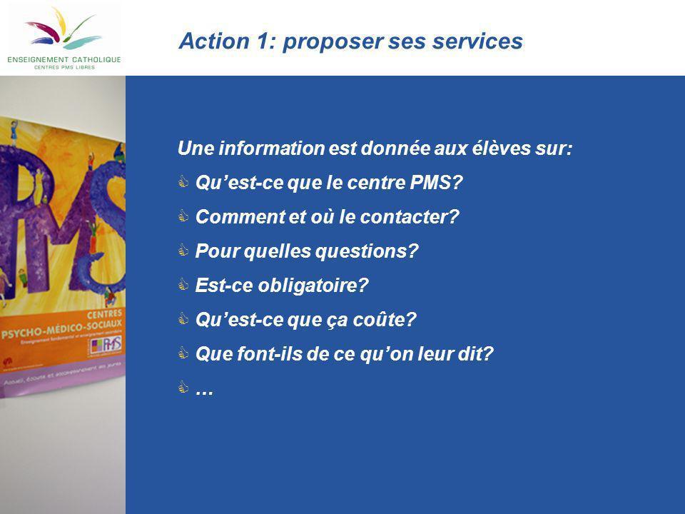 Action 1: proposer ses services Une information est donnée aux élèves sur: Quest-ce que le centre PMS? Comment et où le contacter? Pour quelles questi