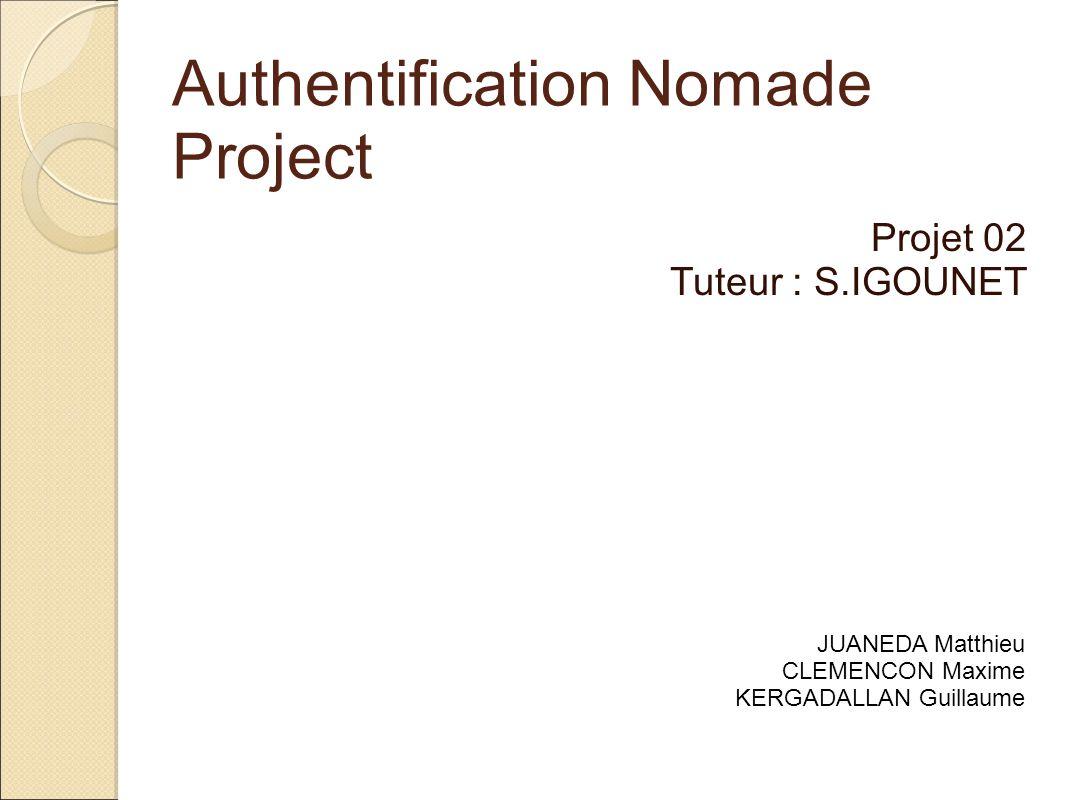 Authentification Nomade Project Projet 02 Tuteur : S.IGOUNET JUANEDA Matthieu CLEMENCON Maxime KERGADALLAN Guillaume