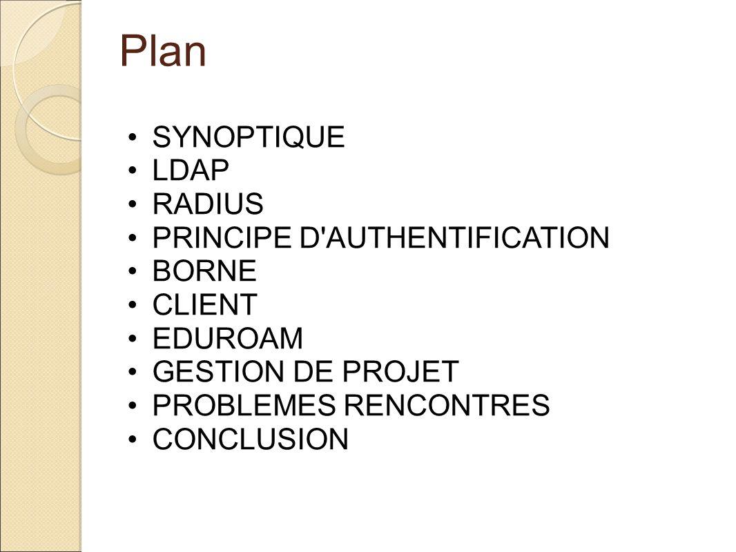 Plan SYNOPTIQUE LDAP RADIUS PRINCIPE D'AUTHENTIFICATION BORNE CLIENT EDUROAM GESTION DE PROJET PROBLEMES RENCONTRES CONCLUSION