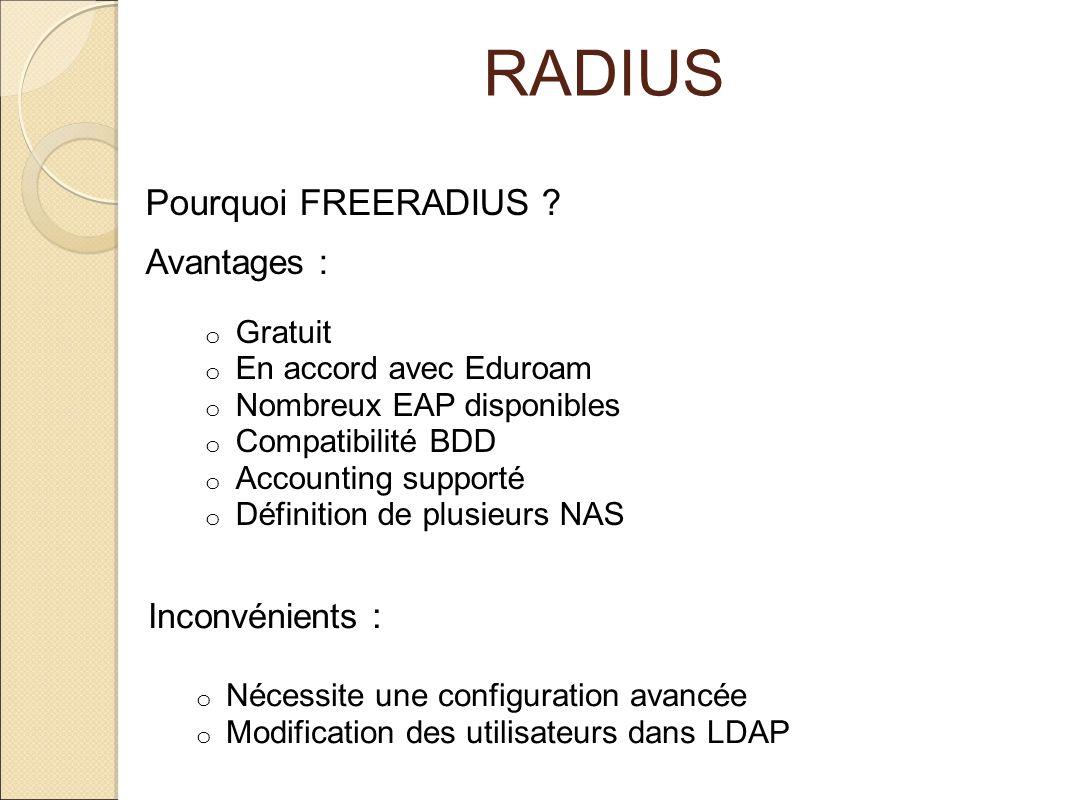 RADIUS Inconvénients : o Nécessite une configuration avancée o Modification des utilisateurs dans LDAP Avantages : o Gratuit o En accord avec Eduroam