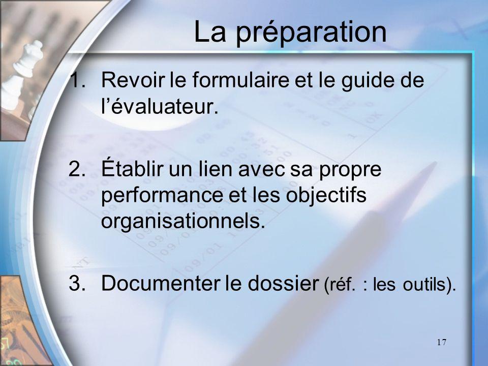 17 La préparation 1.Revoir le formulaire et le guide de lévaluateur. 2.Établir un lien avec sa propre performance et les objectifs organisationnels. 3