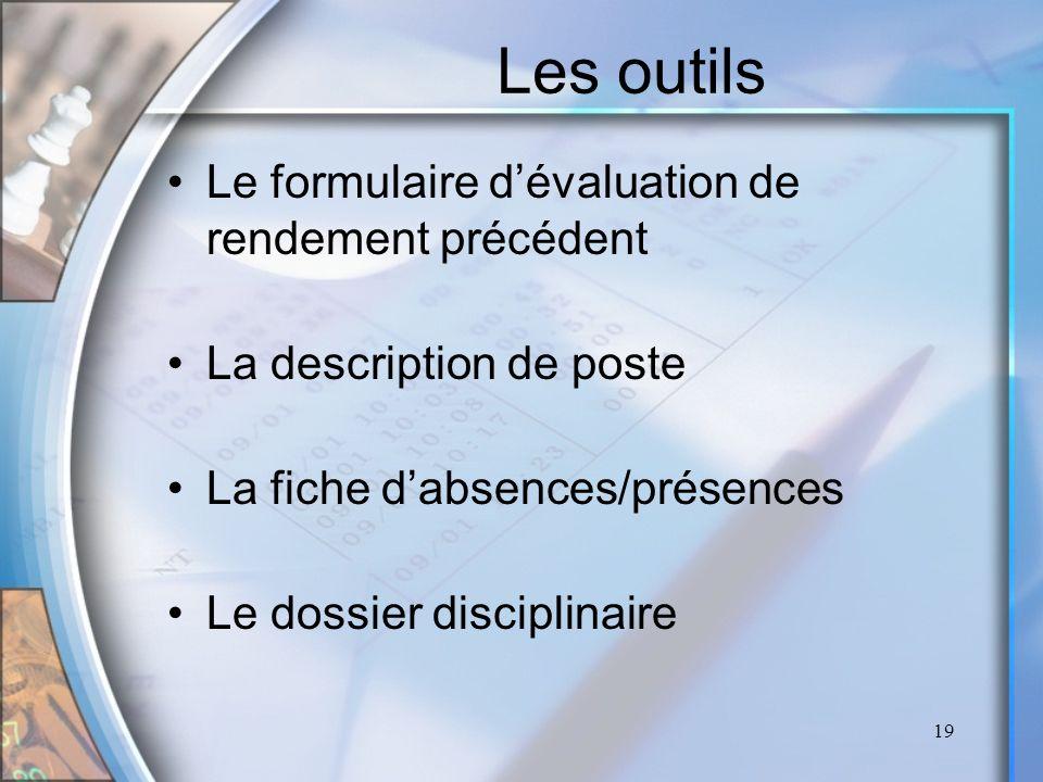 19 Les outils Le formulaire dévaluation de rendement précédent La description de poste La fiche dabsences/présences Le dossier disciplinaire