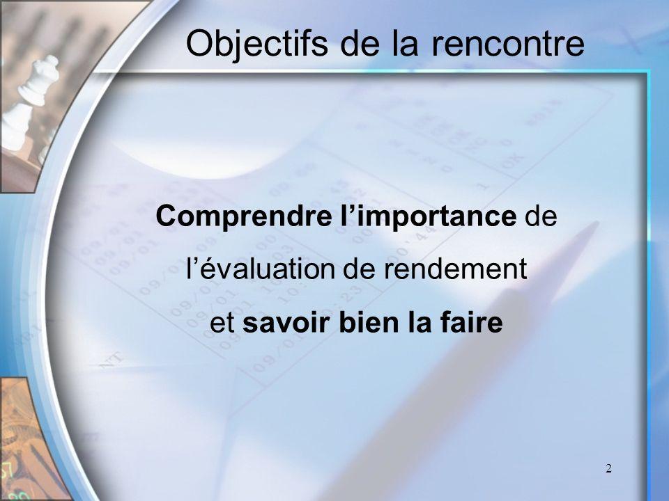 2 Objectifs de la rencontre Comprendre limportance de lévaluation de rendement et savoir bien la faire