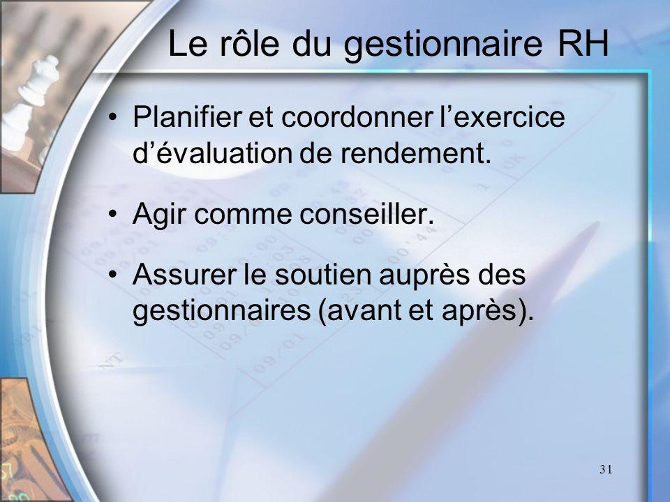 31 Le rôle du gestionnaire RH Planifier et coordonner lexercice dévaluation de rendement. Agir comme conseiller. Assurer le soutien auprès des gestion
