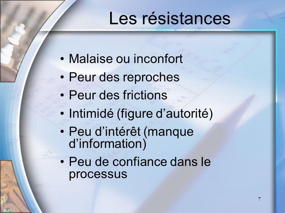 7 Les résistances Malaise ou inconfort Peur des reproches Peur des frictions Intimidé (figure dautorité) Peu dintérêt (manque dinformation) Peu de con