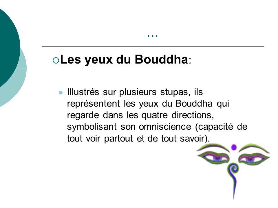 … Illustrés sur plusieurs stupas, ils représentent les yeux du Bouddha qui regarde dans les quatre directions, symbolisant son omniscience (capacité d