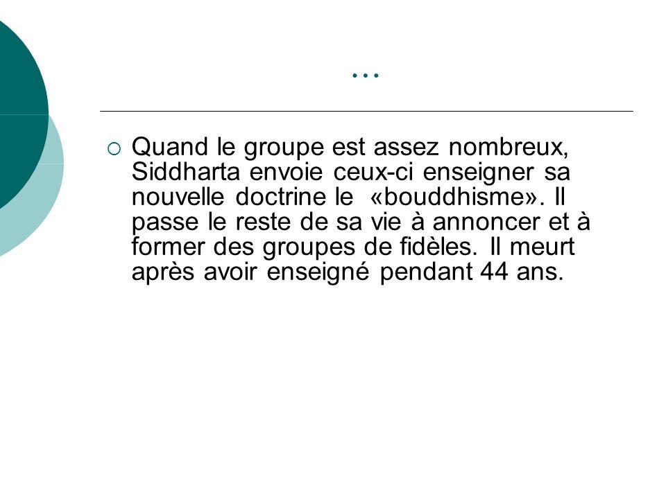 … Quand le groupe est assez nombreux, Siddharta envoie ceux-ci enseigner sa nouvelle doctrine le «bouddhisme». Il passe le reste de sa vie à annoncer