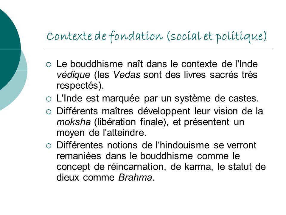 Contexte de fondation (social et politique) Le bouddhisme naît dans le contexte de l'Inde védique (les Vedas sont des livres sacrés très respectés). L