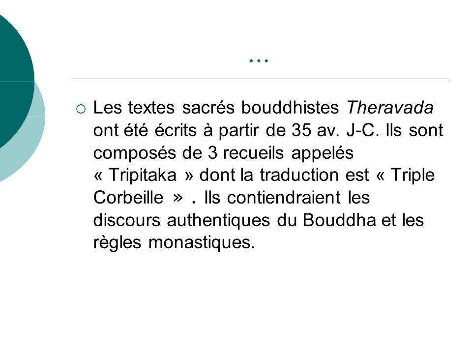 … Les textes sacrés bouddhistes Theravada ont été écrits à partir de 35 av. J-C. Ils sont composés de 3 recueils appelés « Tripitaka » dont la traduct