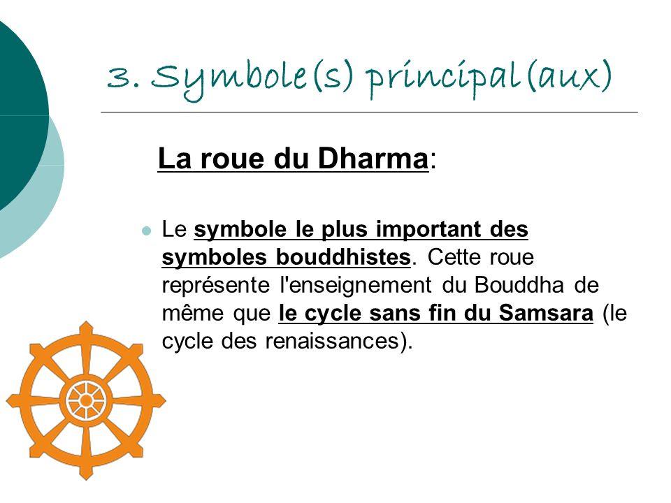3. Symbole(s) principal(aux) Le symbole le plus important des symboles bouddhistes. Cette roue représente l'enseignement du Bouddha de même que le cyc
