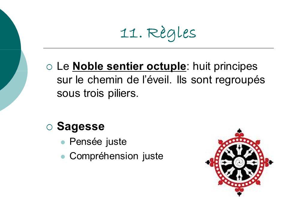 11. Règles Le Noble sentier octuple: huit principes sur le chemin de léveil. Ils sont regroupés sous trois piliers. Sagesse Pensée juste Compréhension