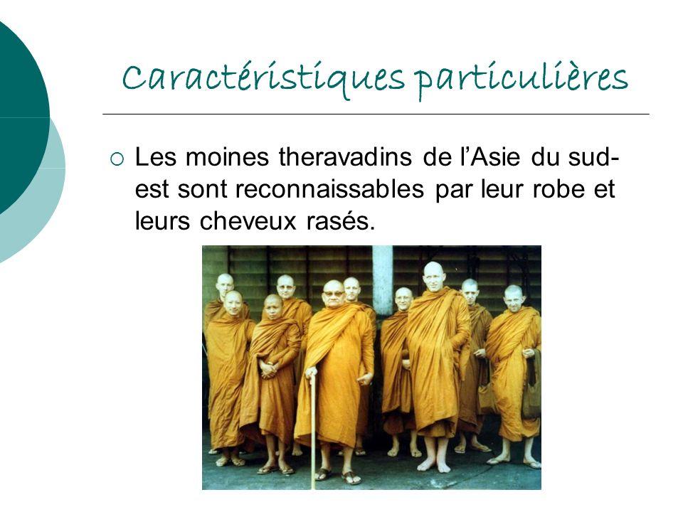 Caractéristiques particulières Les moines theravadins de lAsie du sud- est sont reconnaissables par leur robe et leurs cheveux rasés.