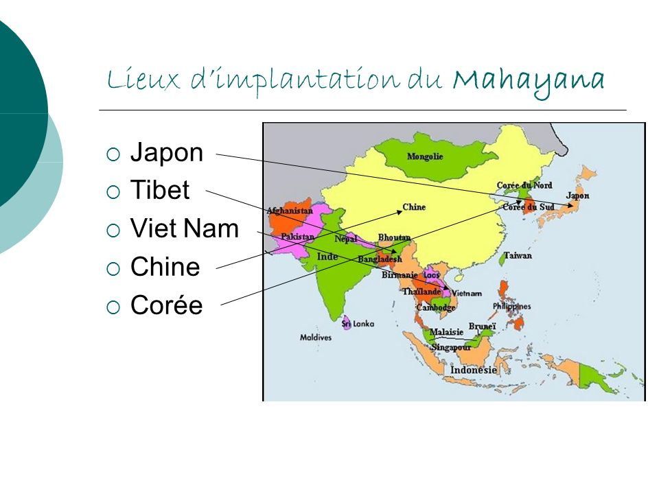 Lieux dimplantation du Mahayana Japon Tibet Viet Nam Chine Corée