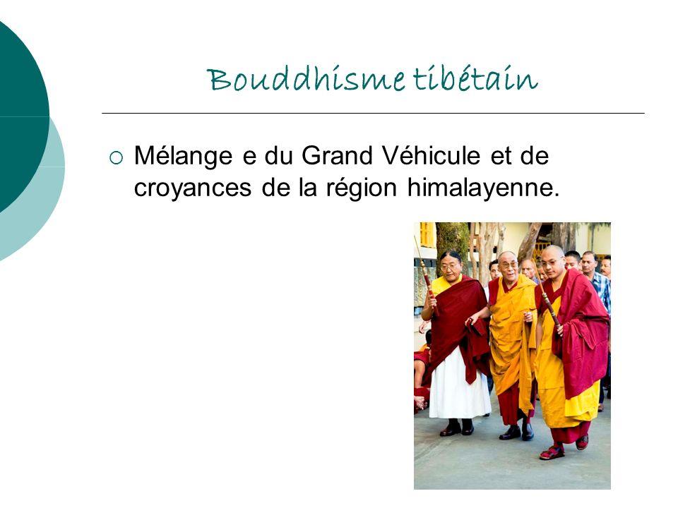 Bouddhisme tibétain Mélange e du Grand Véhicule et de croyances de la région himalayenne.