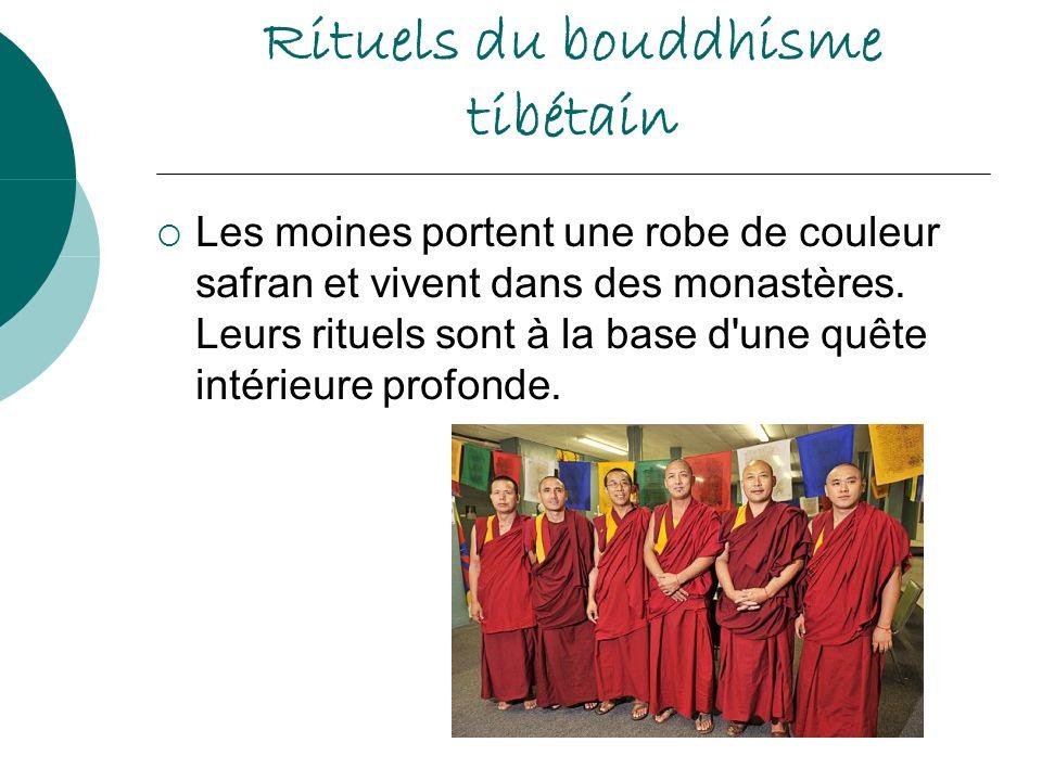 Rituels du bouddhisme tibétain Les moines portent une robe de couleur safran et vivent dans des monastères. Leurs rituels sont à la base d'une quête i