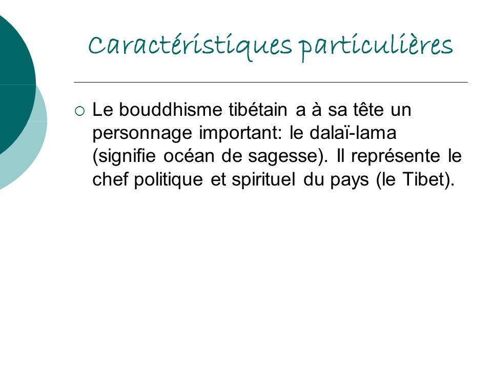 Caractéristiques particulières Le bouddhisme tibétain a à sa tête un personnage important: le dalaï-lama (signifie océan de sagesse). Il représente le