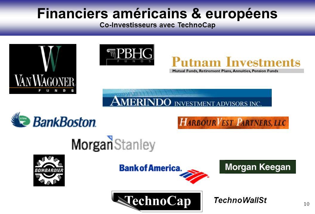 10 TechnoWallSt Financiers américains & européens Co-Investisseurs avec TechnoCap