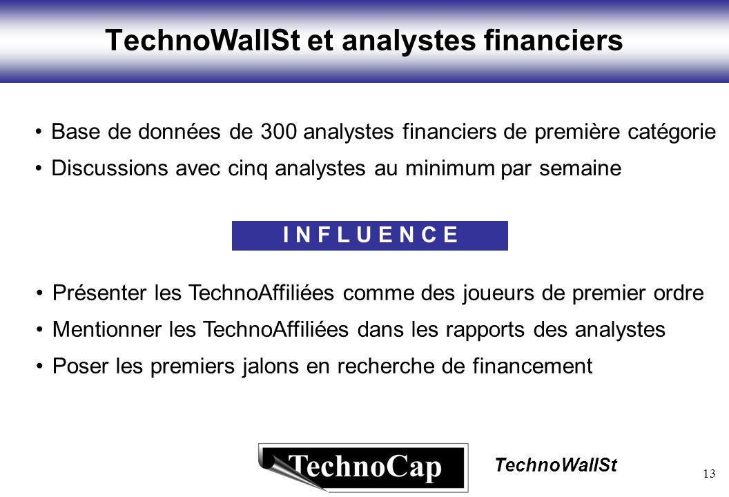 13 TechnoWallSt TechnoWallSt et analystes financiers I N F L U E N C E Base de données de 300 analystes financiers de première catégorie Discussions avec cinq analystes au minimum par semaine Présenter les TechnoAffiliées comme des joueurs de premier ordre Mentionner les TechnoAffiliées dans les rapports des analystes Poser les premiers jalons en recherche de financement