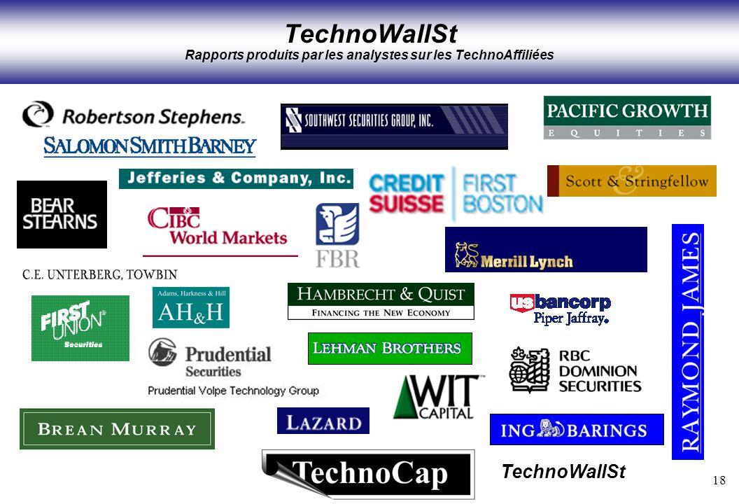 18 TechnoWallSt TechnoWallSt Rapports produits par les analystes sur les TechnoAffiliées
