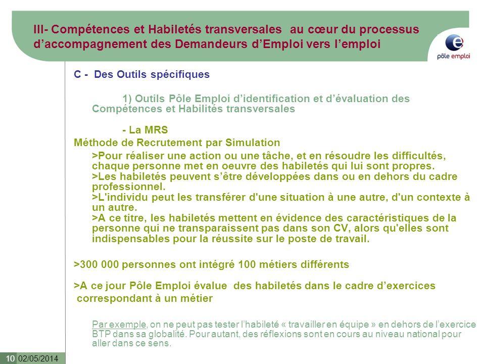 02/05/2014 10 III- Compétences et Habiletés transversales au cœur du processus daccompagnement des Demandeurs dEmploi vers lemploi C - Des Outils spéc