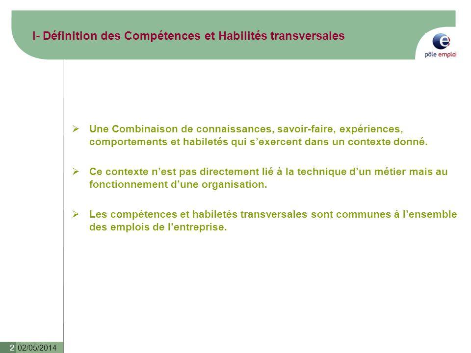 02/05/2014 2 I- Définition des Compétences et Habilités transversales Une Combinaison de connaissances, savoir-faire, expériences, comportements et ha