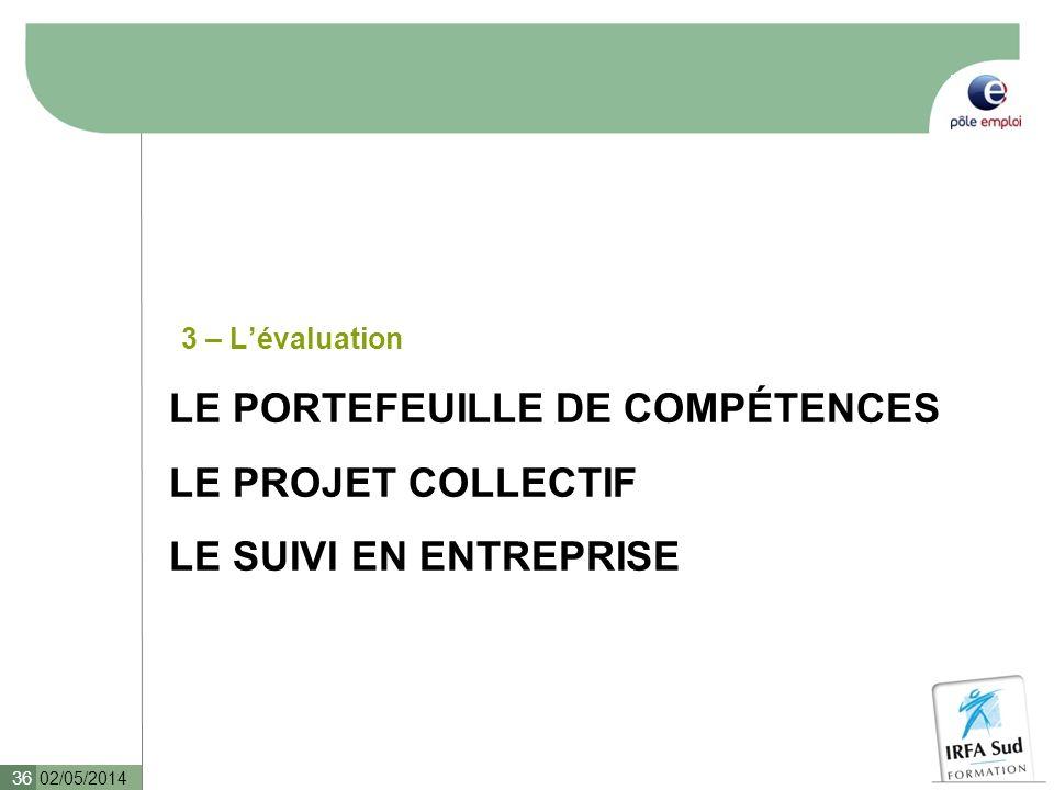 LE PORTEFEUILLE DE COMPÉTENCES LE PROJET COLLECTIF LE SUIVI EN ENTREPRISE 3 – Lévaluation 02/05/2014 36