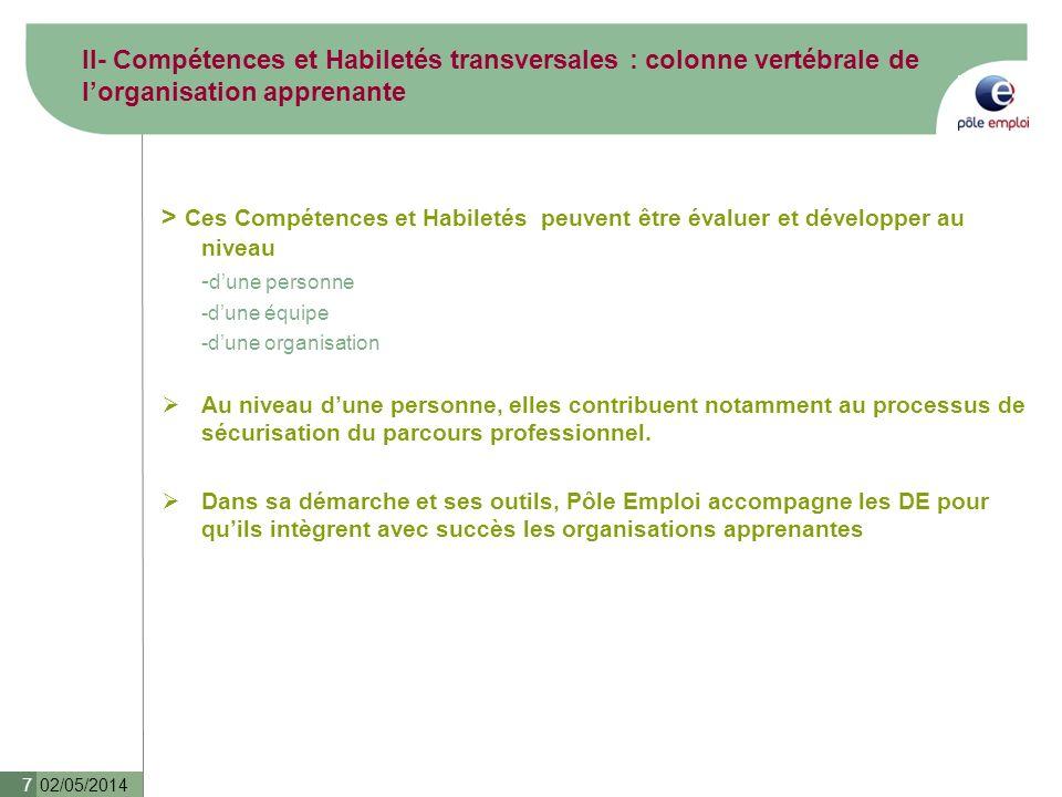 02/05/2014 7 > Ces Compétences et Habiletés peuvent être évaluer et développer au niveau - dune personne -dune équipe -dune organisation Au niveau dun
