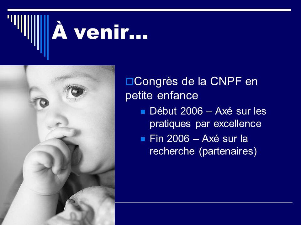 À venir… Congrès de la CNPF en petite enfance Début 2006 – Axé sur les pratiques par excellence Fin 2006 – Axé sur la recherche (partenaires)