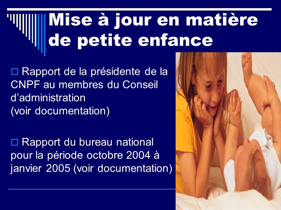 Mise à jour en matière de petite enfance Rapport de la présidente de la CNPF au membres du Conseil dadministration (voir documentation) Rapport du bureau national pour la période octobre 2004 à janvier 2005 (voir documentation)