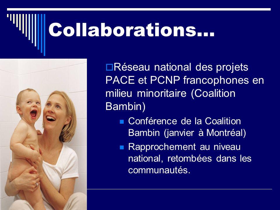 Collaborations… Réseau national des projets PACE et PCNP francophones en milieu minoritaire (Coalition Bambin) Conférence de la Coalition Bambin (janv