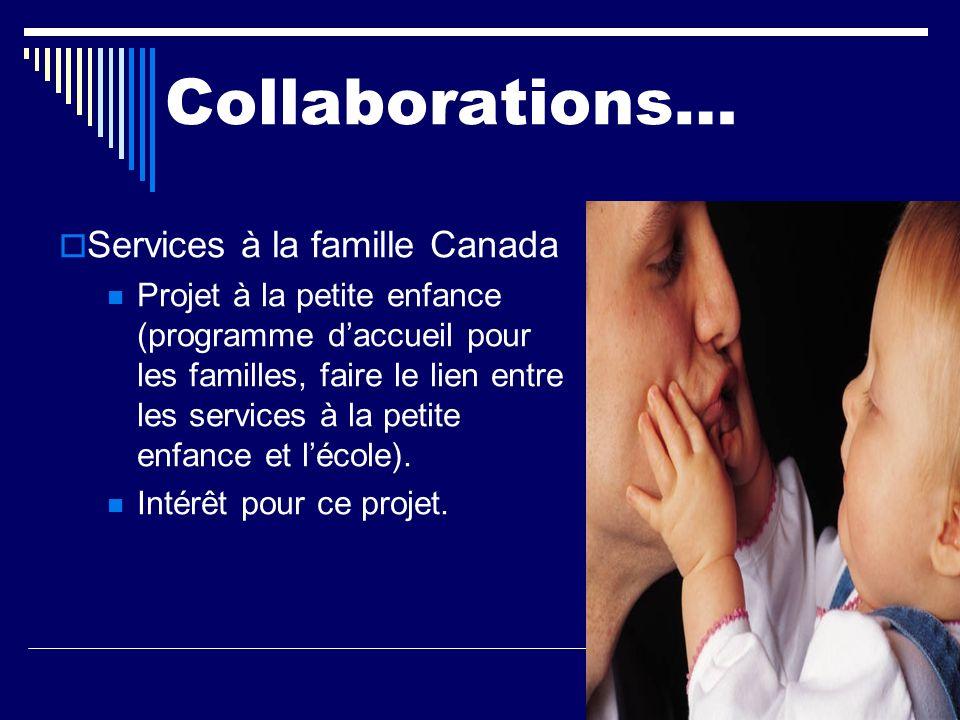 Collaborations… Services à la famille Canada Projet à la petite enfance (programme daccueil pour les familles, faire le lien entre les services à la p