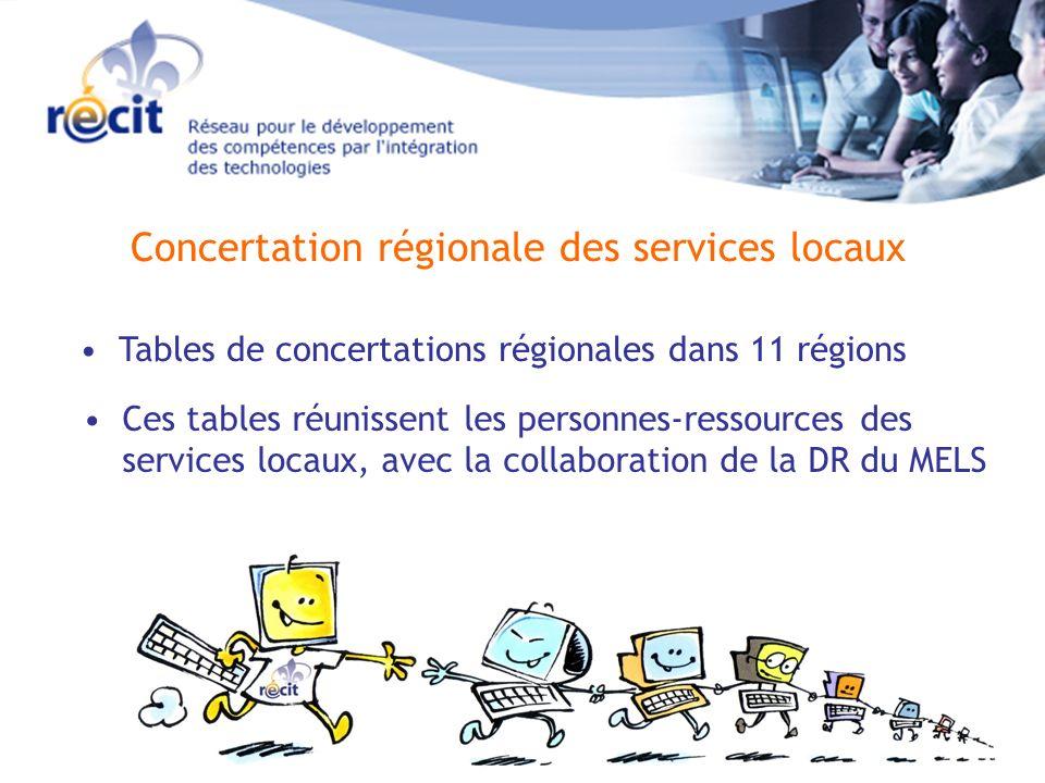 Concertation régionale des services locaux Tables de concertations régionales dans 11 régions Ces tables réunissent les personnes-ressources des services locaux, avec la collaboration de la DR du MELS