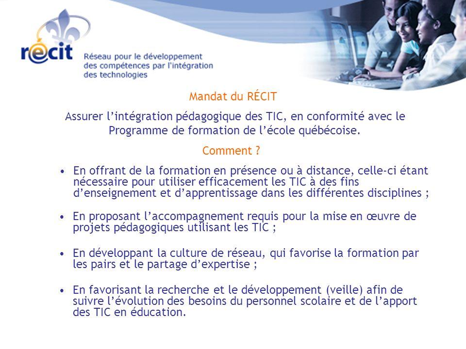 Assurer lintégration pédagogique des TIC, en conformité avec le Programme de formation de lécole québécoise.