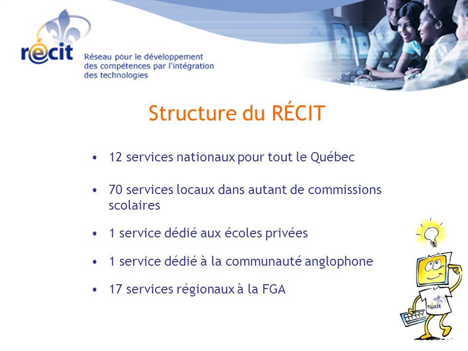 Structure du RÉCIT 12 services nationaux pour tout le Québec 70 services locaux dans autant de commissions scolaires 1 service dédié aux écoles privées 17 services régionaux à la FGA 1 service dédié à la communauté anglophone