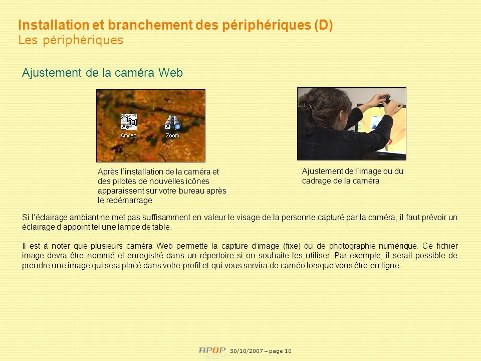 APOP10 Installation et branchement des périphériques (D) Les p é riph é riques Ajustement de la caméra Web Après linstallation de la caméra et des pil