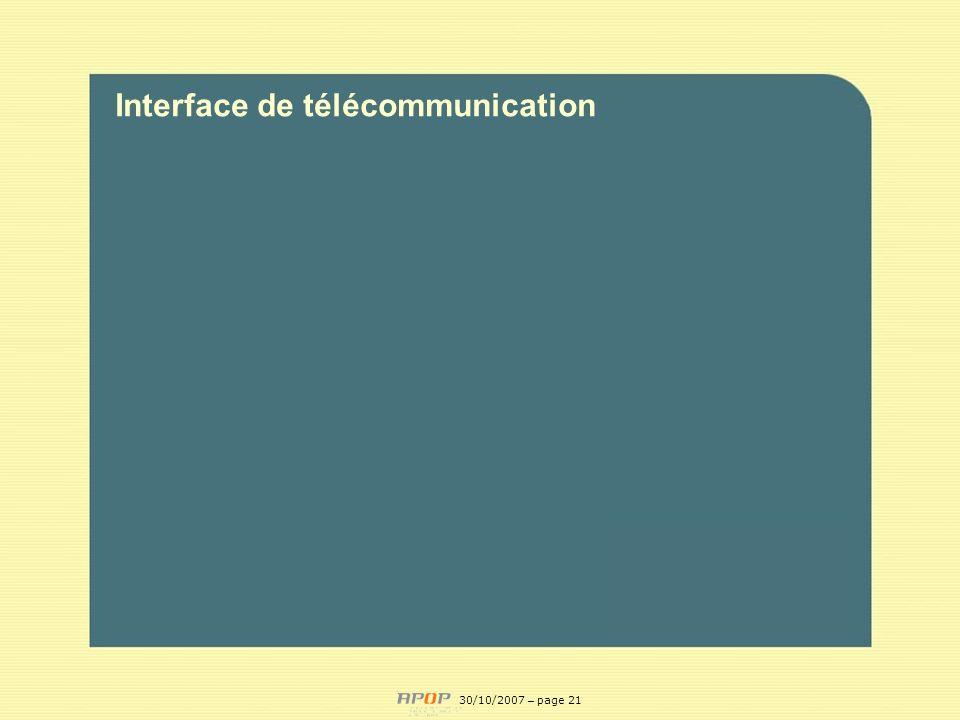 APOP21 Interface de télécommunication 30/10/2007 – page 21