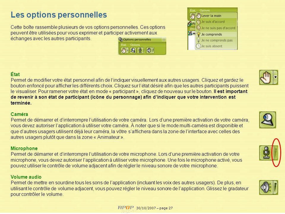 APOP27 État Permet de modifier votre état personnel afin de lindiquer visuellement aux autres usagers. Cliquez et gardez le bouton enfoncé pour affich
