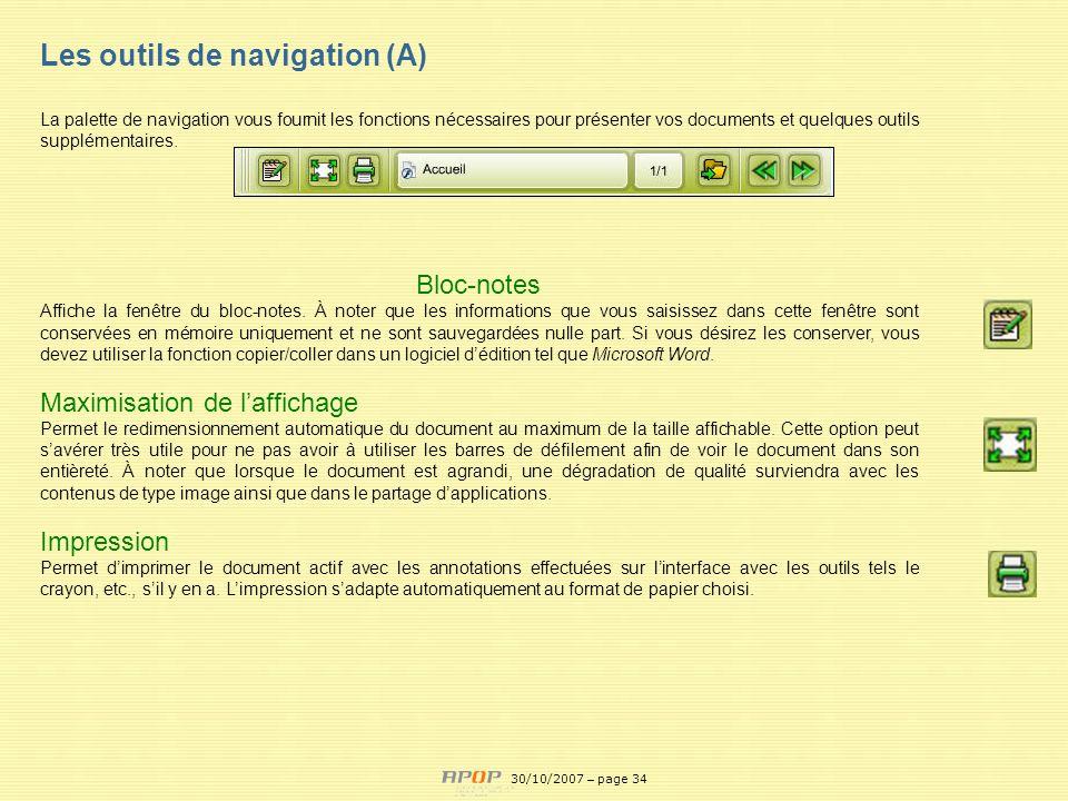 APOP34 Les outils de navigation (A) La palette de navigation vous fournit les fonctions nécessaires pour présenter vos documents et quelques outils su