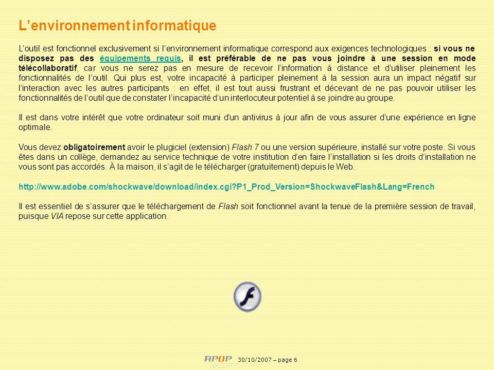 APOP6 Lenvironnement informatique Loutil est fonctionnel exclusivement si lenvironnement informatique correspond aux exigences technologiques : si vou