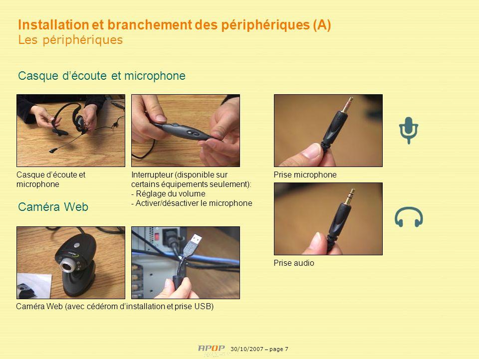 APOP7 Installation et branchement des périphériques (A) Les p é riph é riques Casque découte et microphone Interrupteur (disponible sur certains équip