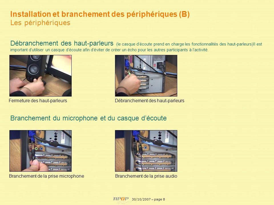 APOP8 Installation et branchement des périphériques (B) Les p é riph é riques Débranchement des haut-parleurs (le casque découte prend en charge les f